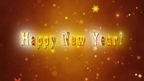 Congratulatory New Year video card. Decorative gold title, confetti. Artistic intro (introductory Animation