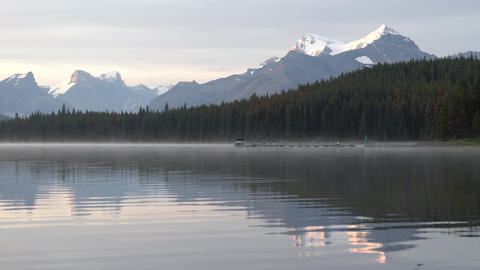 Maligne Lake close to Jasper with early morning mood, Alberta, Canada Live Action