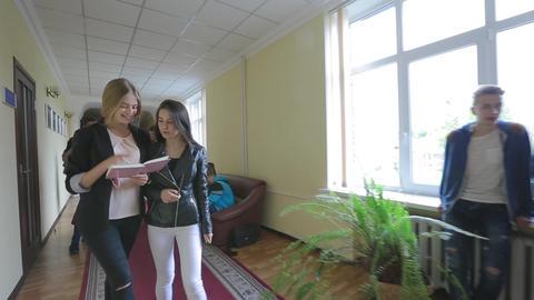 High School Students Walking In Hallway Live Action