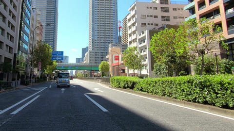 Driving image. View of high-rise apartment Live Action