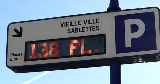 Traffic Sign Board Showing Number Of Parking Spaces Available Live Action