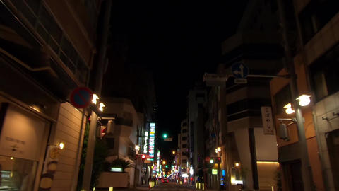 Driving image. Road behind the alley at night Live Action