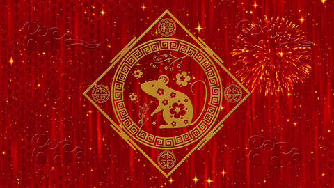 Lunar New Year, Spring Festival background with golden rat, fireworks Animation