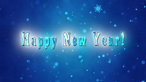 Congratulatory New Year video card. Decorative ice title, confetti. Artistic intro (introductory Animation