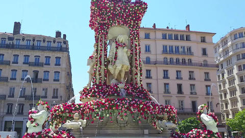 Fontaine des Jacobins in Lyon France Footage