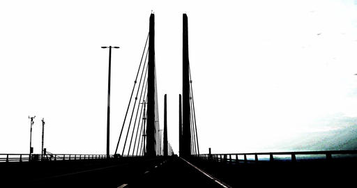 Oeresund Bridge between Sweden and Denmark Footage