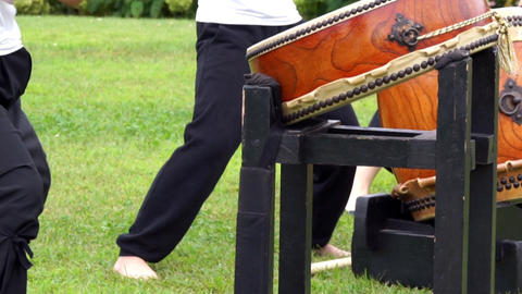 Person who hit the Japanese traditional arts, drum Stock Video Footage