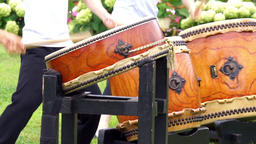 Person who hit the Japanese traditional arts, drum Footage