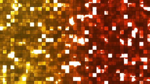 Broadcast Twinkling Firey Light Squares, Multi Color, Abstract, Loopable, 4K Animation
