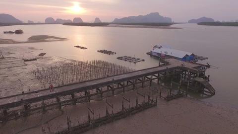 new pier and old pier Bansamchong Phang Nga Footage