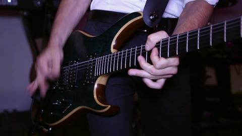 Guitarist plays on the electric guitar Footage