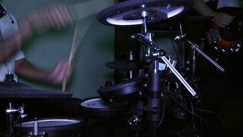 The drummer plays electric drums Footage