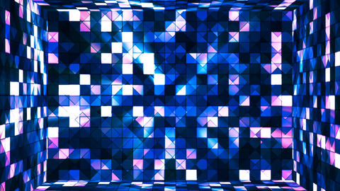 Broadcast Twinkling Hi-Tech Squares Room, Blue, Abstract, Loopable, 4K Animation