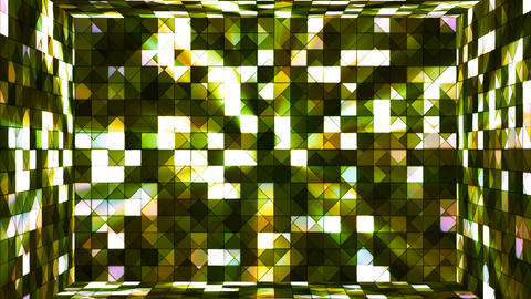 Broadcast Twinkling Hi-Tech Squares Room, Green, Abstract, Loopable, 4K Animation