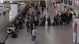 Passengers queue before boarding gate at pulkovo airport, airside lounge Footage