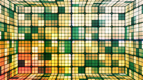 Broadcast Twinkling Hi-Tech Cubes Room, Green, Abstract, Loopable, 4K Animation