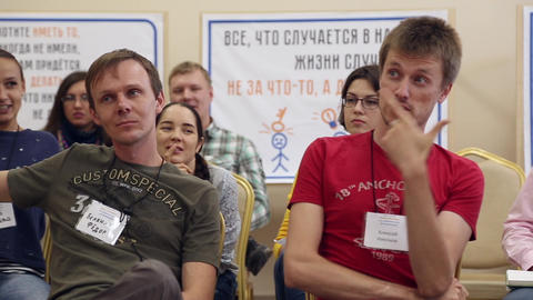 People communicate at the workshop Footage