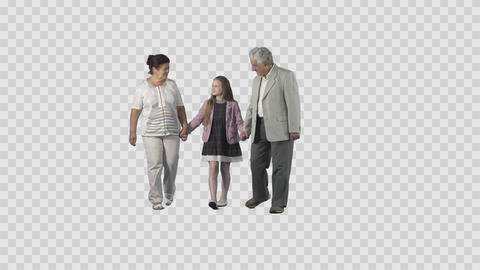 Grandfather and grandmother are walking with granddaughter. Moving at the camera Live Action