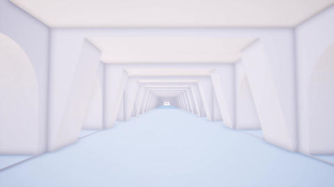 White tunnel in 3d style on light background. Abstract light corridor. Space Live Action