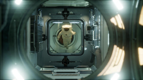 astronaut inside the orbital space station Live Action