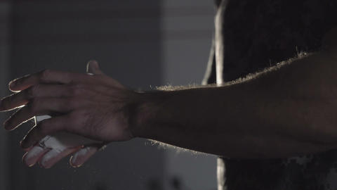 In gym the hands are rubbed chalk before preparing for training. For safety of Live Action