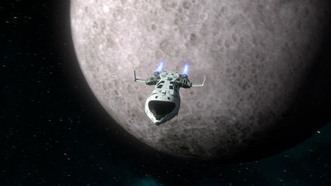 Futuristic spaceship flying away from the Moon Animation
