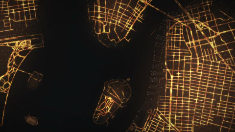Night New York traffic aerial view Animation