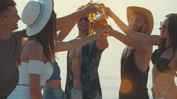 The young friends clink bottles on a sunny background. slow motion Live Action