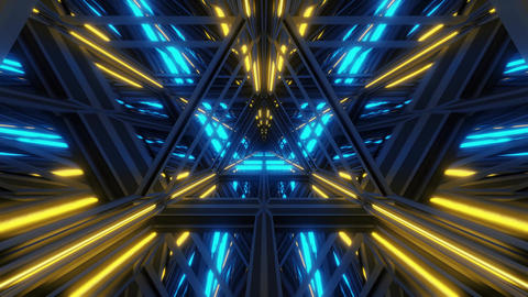endless triangle design glass tunnel corridor with glass windows and bottom and Animation