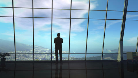 A silhouette of a businessman standing in front of a window from dawn to dusk Animation