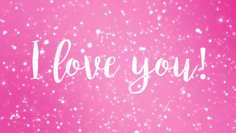 Animated pink I love you Valentine card Animation