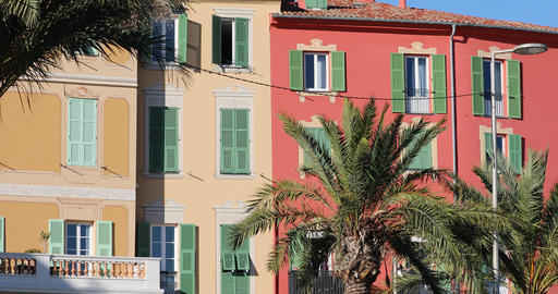 Colorful Houses In Menton On The French Riviera Live Action