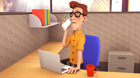 Office Worker on Phone GIF