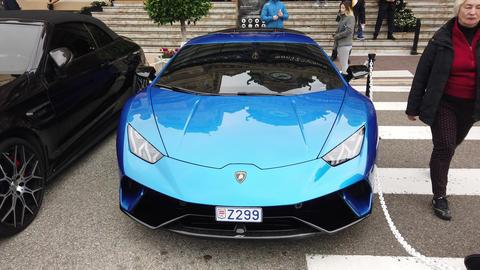 Blue Lamborghini Huracan LP 640-4 Performante GIF