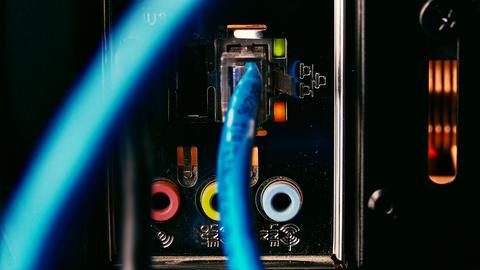 4K Network Socket / Ethernet Connection / Professional Workstation Footage