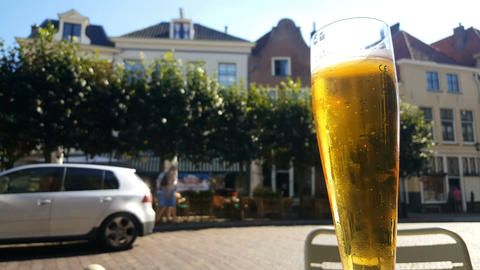 Drinking beer on terrace in historic Deventer Footage