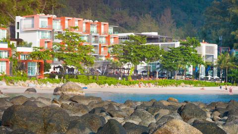 KAMALA. PHUKET. THAILAND - CIRCA DEC 2014: Tourists strolling along picturesque Footage