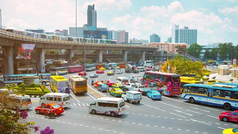 BANGKOK. THAILAND - CIRCA FEB 2015: Heavy Urban Traffic at a Busy Intersection i Footage