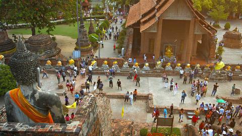AYUTTHAYA. THAILAND - CIRCA FEB 2015: Buddha Sculptures in an Ancient Temple Cou Footage
