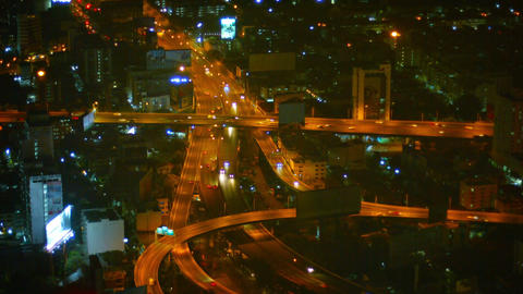 BANGKOK. THAILAND - CIRCA FEB 2015: Aerial View of highway with heavy traffic at Footage