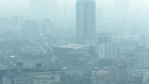 Modern city in smog. The problem of ecology Live Action
