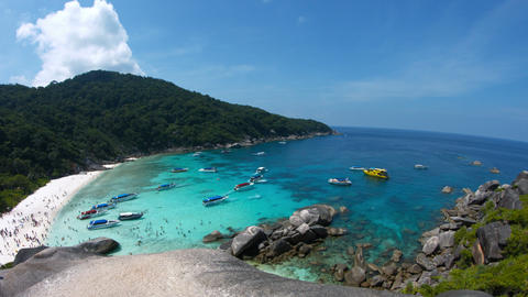 Panning Across a Crowded Tropical Beach in the Similan Islands of Thailand Footage