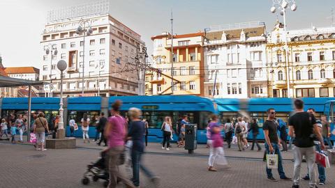 Tram stop in Zagreb Live Action