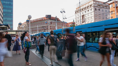 Tram stop in Zagreb Footage