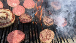 Cooking meat on a Barbecue Footage