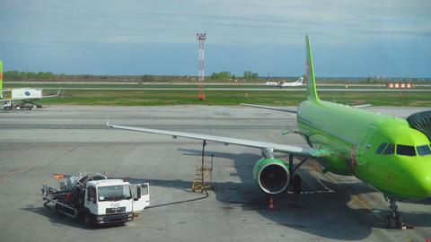Turboprop airplane landing in Tolmachevo airport Footage
