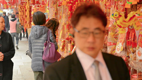 HONG KONG. CHINA - CIRCA JAN 2015: Shoppers browsing new year decorations from a Footage