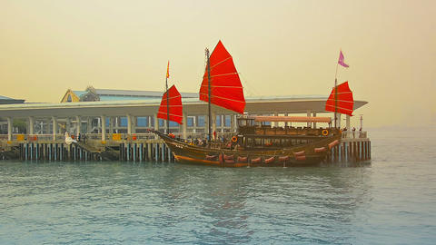 HONG KONG. CHINA - CIRCA JAN 2015: Tour boat. patterned after an old fashioned C Footage