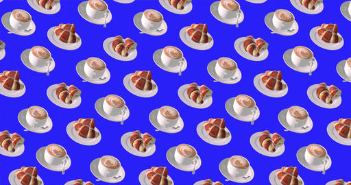 Coffee background with cup of cofee and croissant for video background with chromakey Animation