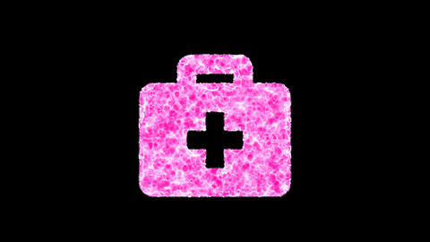 Symbol briefcase medical shimmers in three colors: Purple, Green, Pink. In - Out loop. Alpha channel Animation